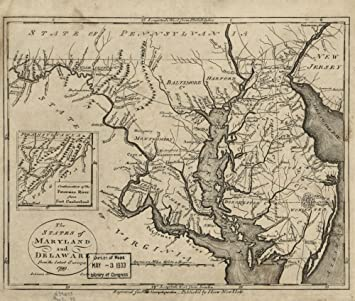 Amazon.com: Vintage 1799 Map of The states of Maryland and Delaware ...