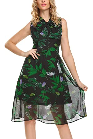 8311dcfee43 DREZZED Women Floral Print Sleeveless Flowy Chiffon Midi Dress with Bow at  Amazon Women s Clothing store