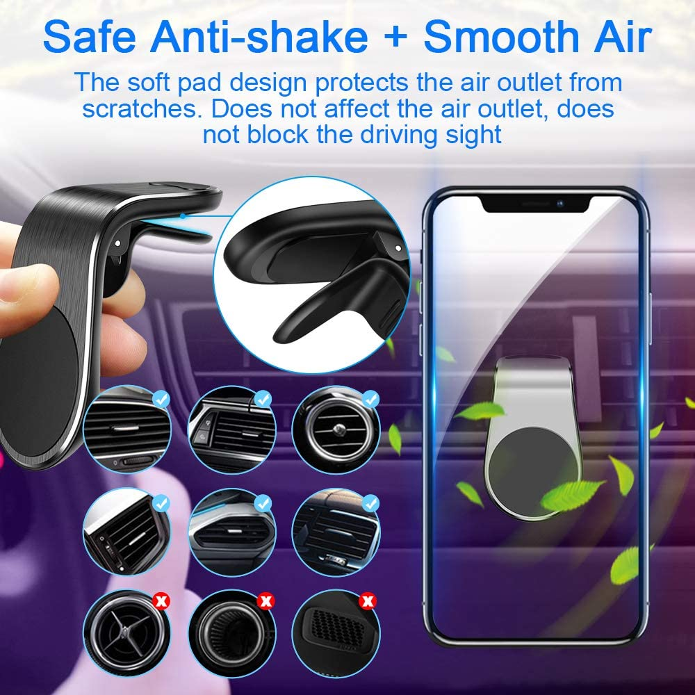 Phone Holder for Car Magnetic Phone Car Mount JONAVO 5N52 Super Magnet Hands Free Universal Smart iPhone Car Mount Suitable for All Kinds of Mobile Phones 2 Pack