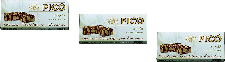 Picó - Pack incluye 3 Turron de Chocolate y Almendras, Turron duro sin azúcares añadidos - Calidad Suprema - 200gr (Sin Gluten): Amazon.es: Alimentación y bebidas