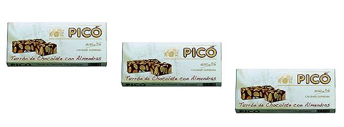 Picó - Pack incluye 3 Turron de Chocolate y Almendras, Turron duro sin azúcares añadidos