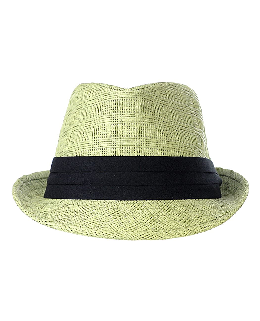 NYFASHION101 Womens Paper Woven Straw Fedora Hat w// 3 Tier Band