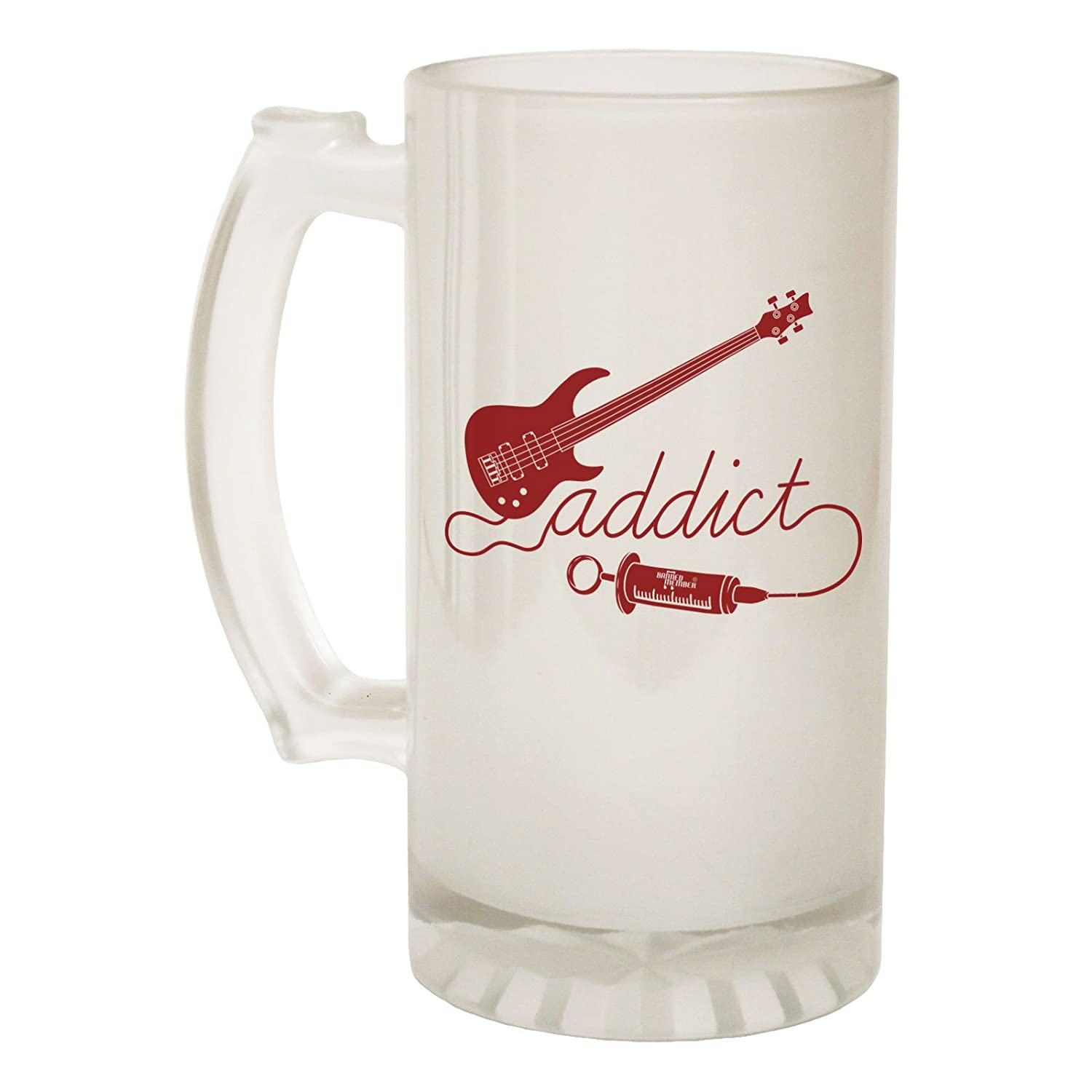 123t Frosted Glass Beer Stein - Bass Addict Guitar - Funny Novelty Birthday