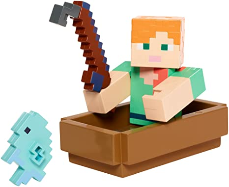 Mattel Mcjg Minecraft Fishing Alex W Boat Figure Action