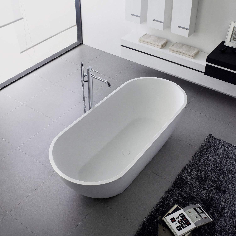 Freistehende Badewanne aus Mineralguß Solid Stone Farbe weiß matt 176x78cm 11878 KLJ-GmbH