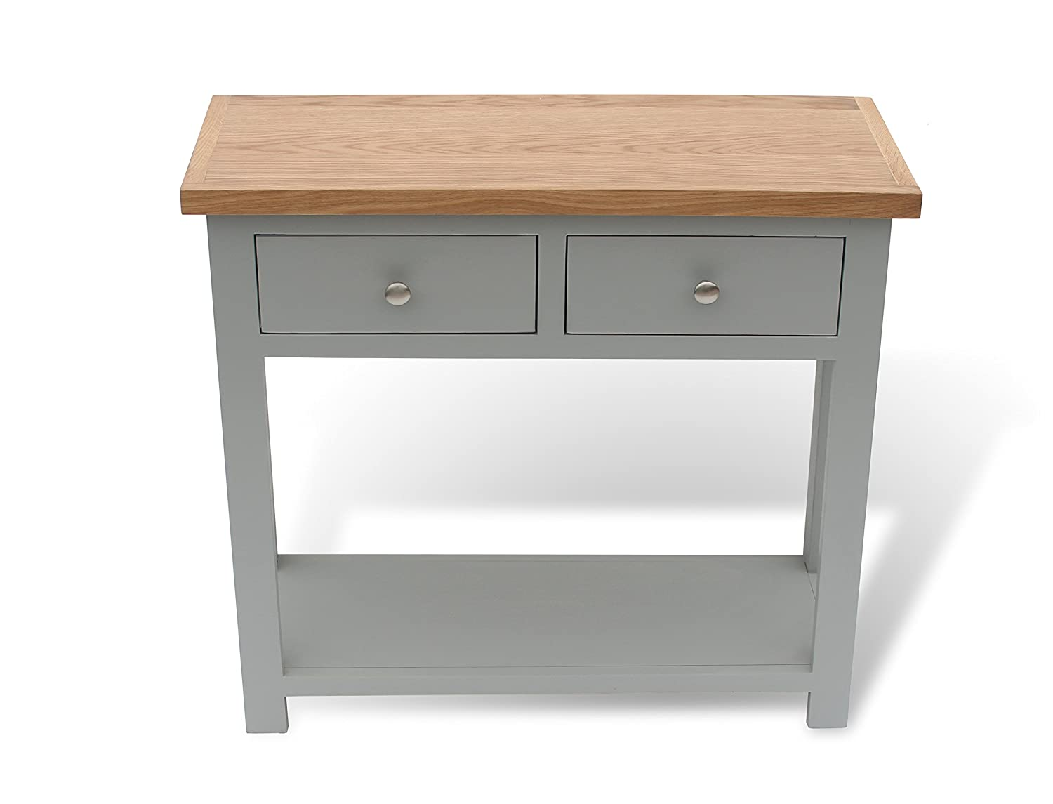 f2e03fb50539 GREYSTOKE PAINTED OAK CONSOLE TABLE HALL TABLE SOLID WOOD TELEPHONE TABLE    2 DRAWER  Amazon.co.uk  Kitchen   Home