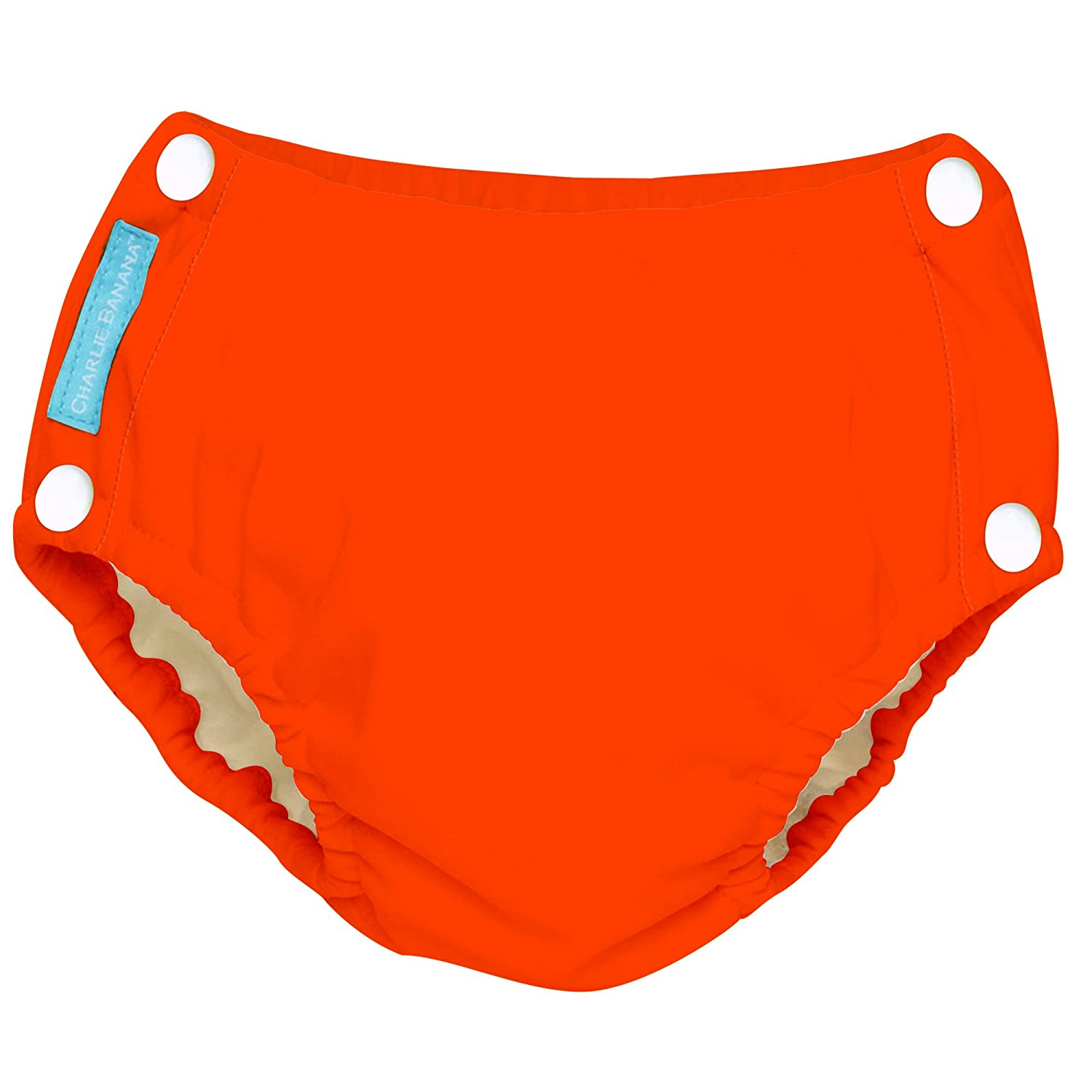 Charlie Banana Reusable Easy Snaps Swim Diaper, Fluorescent Orange, X-Large 8870252