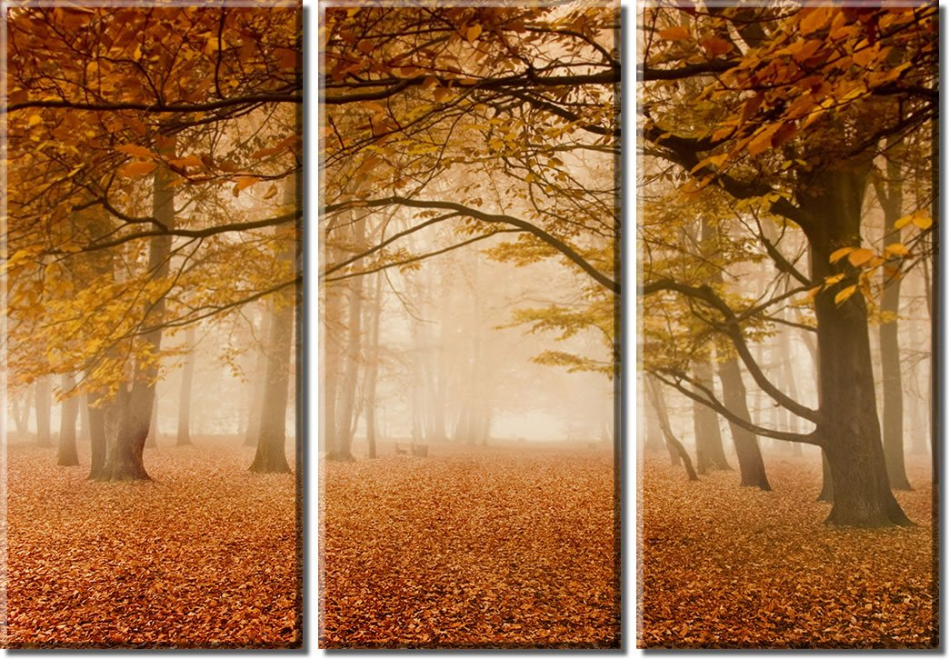Picture Sensations Framed Huge 3-Panel Art Foggy Mist Tree Autumn Leaves Giclee Canvas Print by Picture Sensations