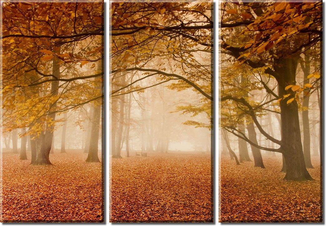 Picture Sensations Framed Huge 3-Panel Art Foggy Mist Tree Autumn Leaves Giclee Canvas Print