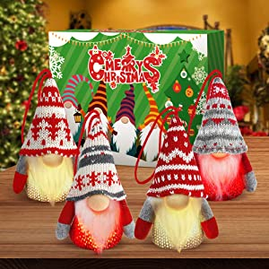Baodlon Gnome Christmas Ornaments with Led Light, Handmade Swedish Tomte Xmas Gnomes Plush Doll, Scandinavian Santa Elf Table Ornaments, Lighting Hanging Christmas Tree Decorations Home Decor (4 Pack)