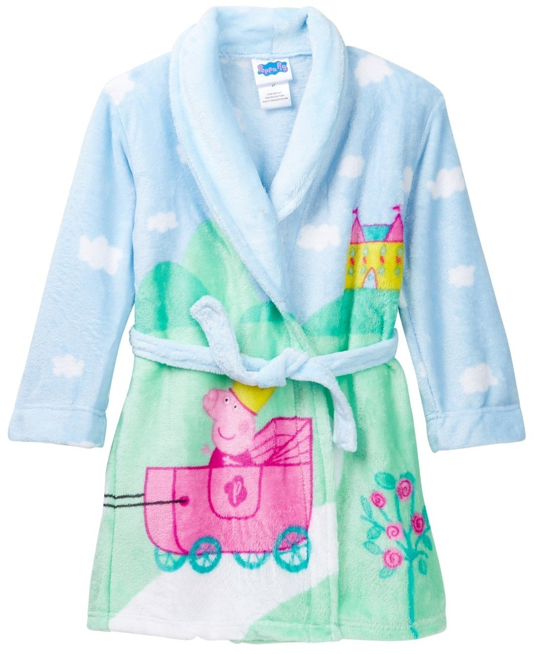 Peppa Pig Kids Panoramic Plush Robe with attached belt, Toddlers Size 2T