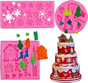 BUSOHA Christmas Fondant Silicone Molds,3 Pack Xmas Cake Cupcake Decoration Silicone Mold,Snowflake/Christmas House/Christmas Theme Decor Mold for Cake Candy Biscuit Gum Paste Clay Chocolate Decor