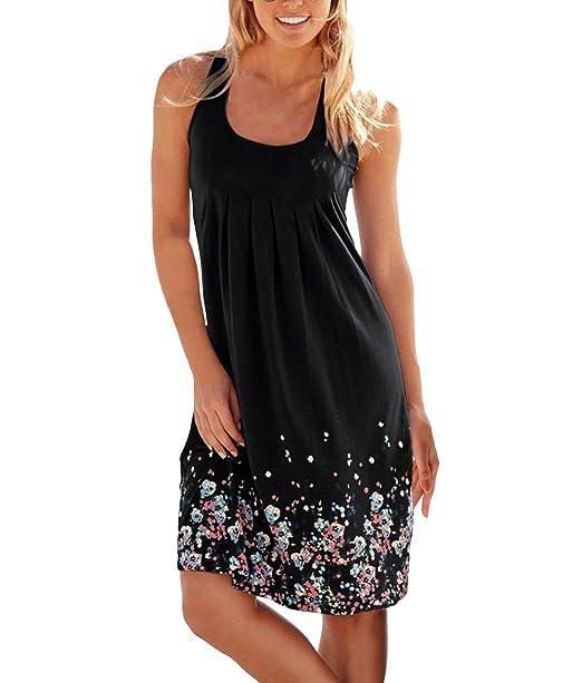 655baa2550696 Yidarton Women s Summer Casual Loose Mini Dress Print Pleated Sleeveless  Sundress A-Line Beach Dresses