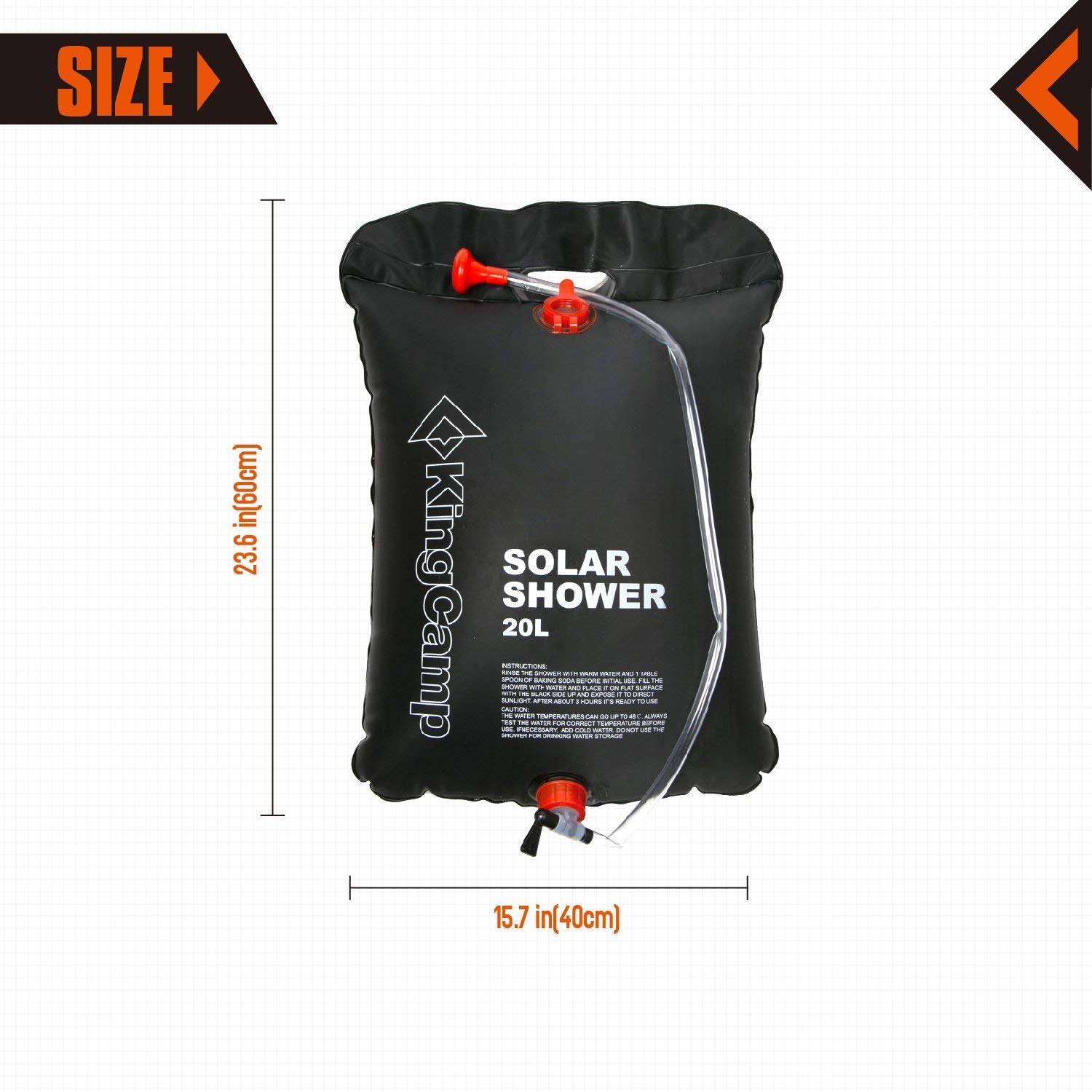 KingCamp Portable Outdoor Solar Shower Bag 20 Litre / 5.28 Gallon