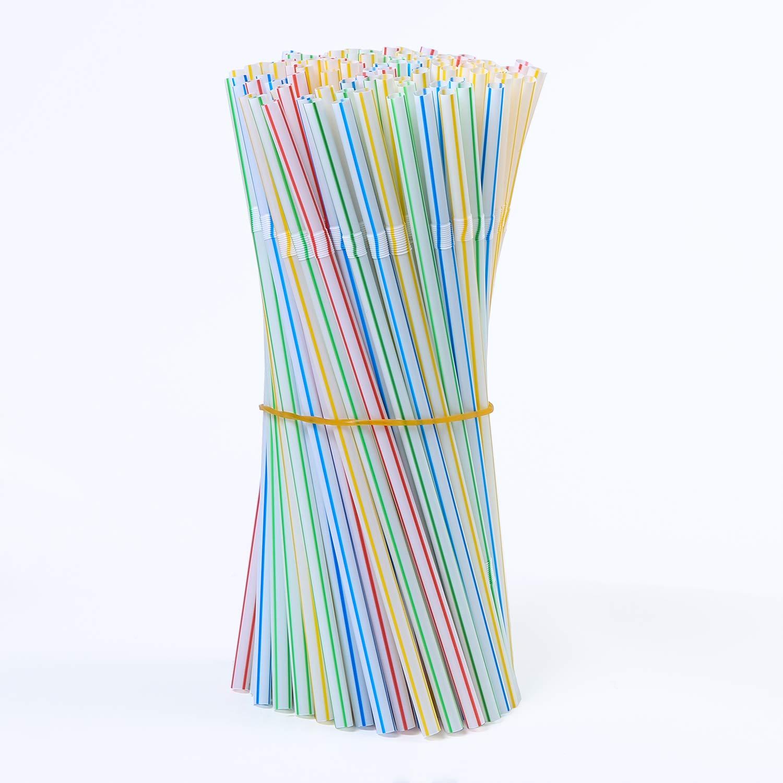 400 St/ück biegbar Uratot Trinkhalme Kunststoff mehrfarbig gestreift flexibel 20,3 cm lang