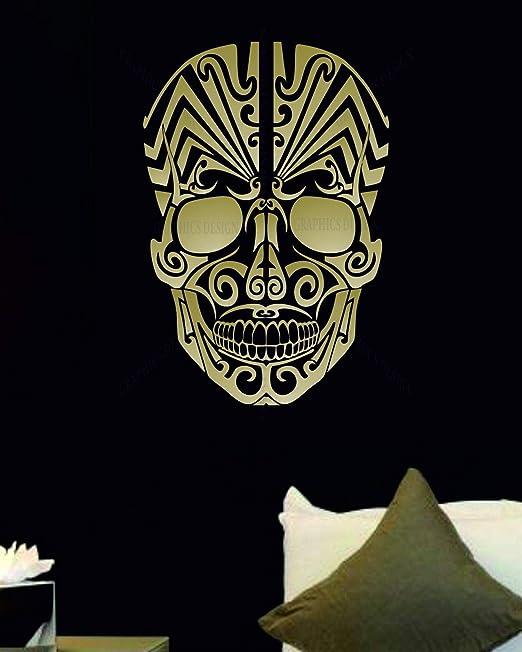 SKULL TRIBAL color vinyl decals stickers bumper 237