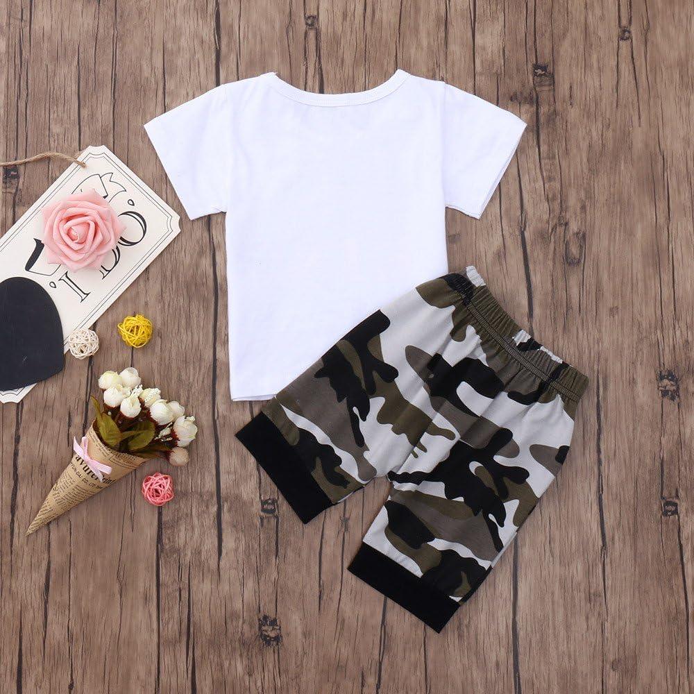 Fineser 2PCS Toddler Little Boy Lils King Short Sleeve T-Shirt Tops+Camouflage Pants Outfits Set