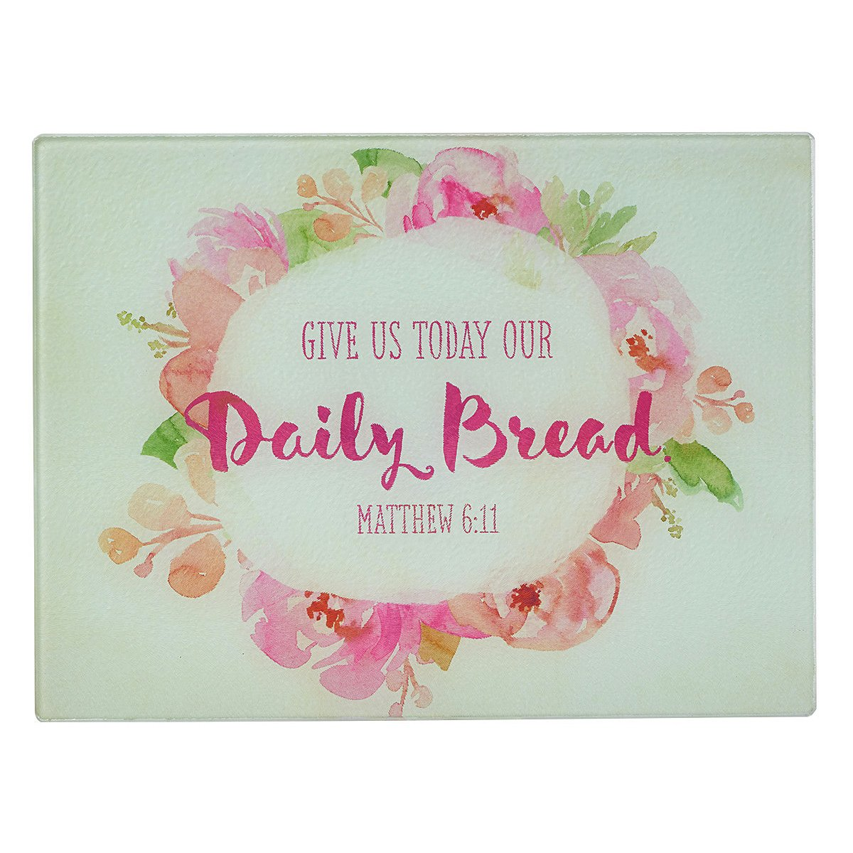 Watercolor Collection ''Daily Bread'' Glass Cutting Board / Trivet (Large: 15 3/4 x 11 7/8) - Matthew 6:11