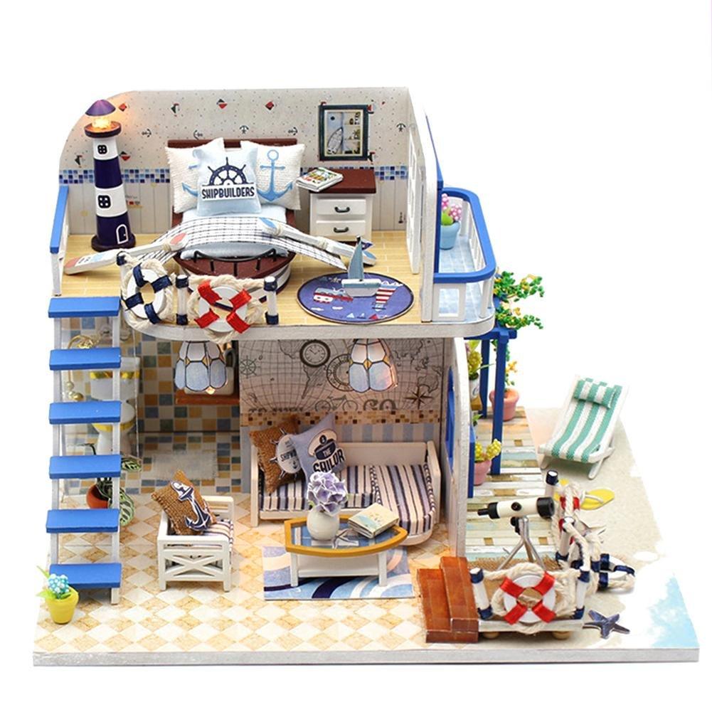 Ruier-hui Puppen Haus Möbel und Zubehör - Gebäude Puzzle Woodcraft BAU Kit,hat Gebäude-Häuschen-Kabinen hellblaue Küste zusammengebaut