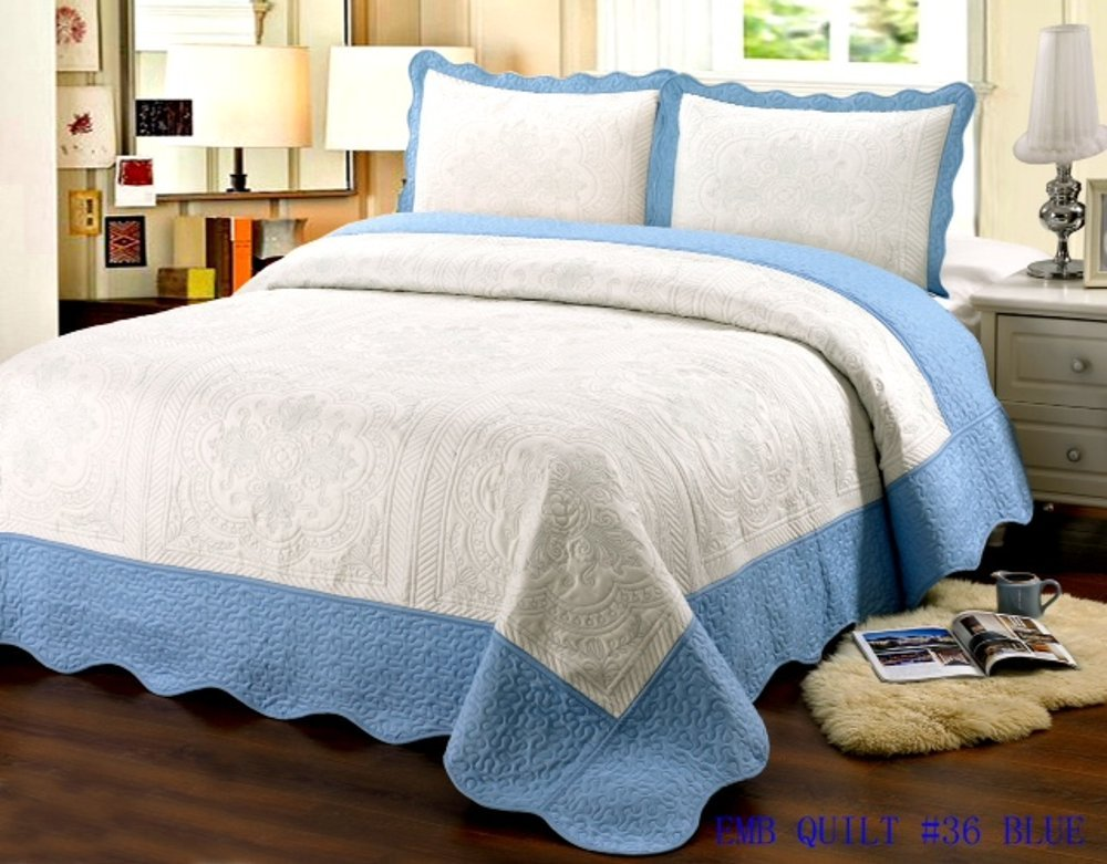 King Quilt 3 pc Bedding Bed set / Bedspread / embroidered / 2 pillow sham, Blue 0965