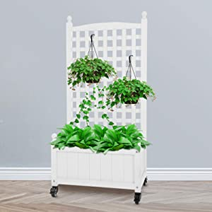 """CEED4U 23.6""""L x 14""""W x 50""""H White Wood Planter Raised Bed with Trellis, Wheeled Elevated Garden Bed Ideal for Garden, Yard, Patio, Courtyard, Indoor Outdoor Use"""
