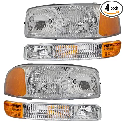 Amazon 4 Piece Set Headlights Signal Marker Lamps For 99 07 GMC Sierra Pickup Truck 00 06 Yukon XL Replaces 15199560 15199561 15850351 15850352