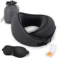 MZYSKJ Travel Pillow 100% Pure Memory Foam Pillow, Comfortable & Breathable Cover, Ergonomic Design Ultra Soft Full Neck Chin Support Adjustable, 3D Contoured Sleep Mask, Earplugs, Standard