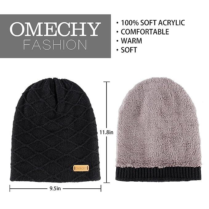 2bc08f39569 Amazon.com  OMECHY Mens Winter Warm Knitting Hats Thick Wool Baggy Slouchy  Beanie Hat Skull Hat Ski Cap