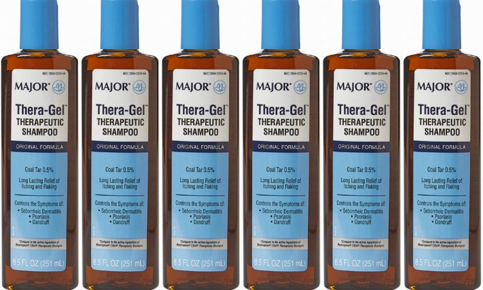 (6 Pack) MAJOR THERA-GEL SHAMPOO COAL TAR-1% Brown 251 ML UPC 309045259443 by Major