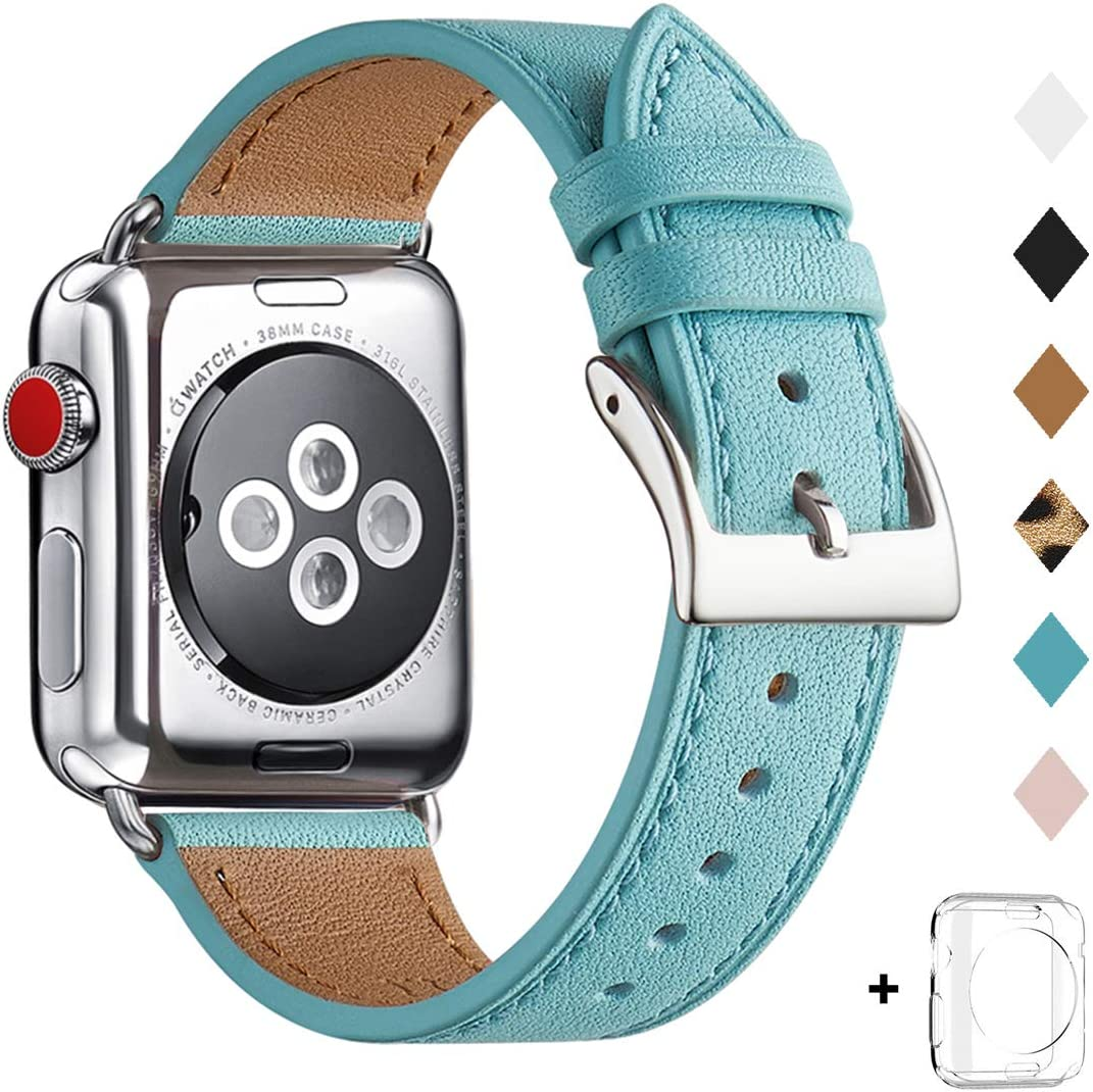 Bestig Band Compatible for Apple Watch 38mm 40mm 42mm 44mm, Genuine Leather Replacement Strap for iWatch Series 6 SE 5 4 3 2 1, Sports & Edition (Tiffany Blue Band+Silver Adapter, 38mm 40mm)