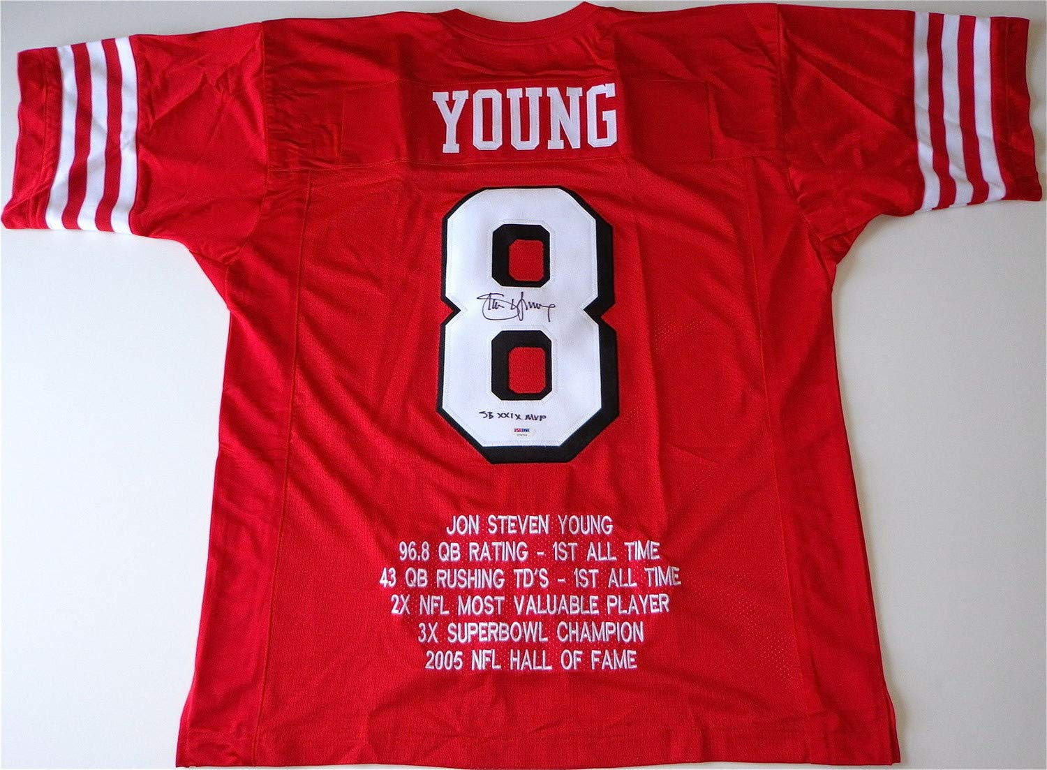 b1a460c46 Steve Young 49ers Autographed Signed Sb Xxix Mvp Custom Embroidered Jersey  Memorabilia PSA DNA COA U78703 at Amazon s Sports Collectibles Store