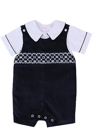 1b70a0b89918 Amazon.com: Carouselwear Special Occasion Boys Hand Smocked Navy Jon Jon  Shortall: Clothing