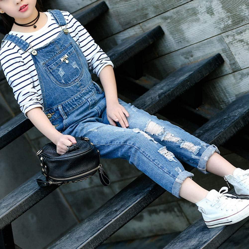 Wenchuang Salopette Jeans Bambina Ragazze Tuta Monopezzi Pantaloni Strappati