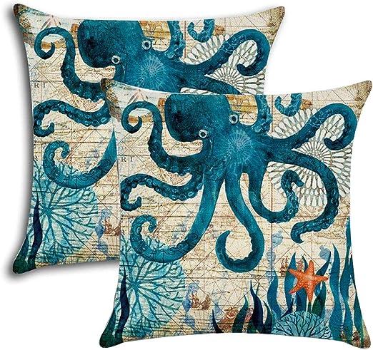 One 1 Black Deep Sea Octopus Ocean Beach Nautical Standard Pillowcase cover