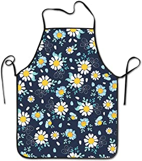 dfhfds Black White Daisies Fashion Bib Apron Painting Party BBQ Cooking Kitchen Aprons for Women Men Adults Chef Waiter apron