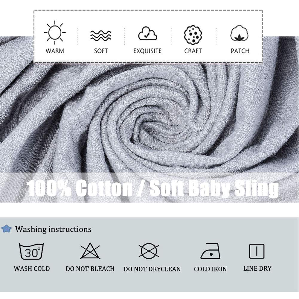 Cuddle Up Baby Sling Fabulous Baby Gift 0-36 Months Grey Soft and Stretchy Carrier for Infants and Babies Up to 35 lbs TNZMART Breathable Lightweight Hands Free Baby Wrap