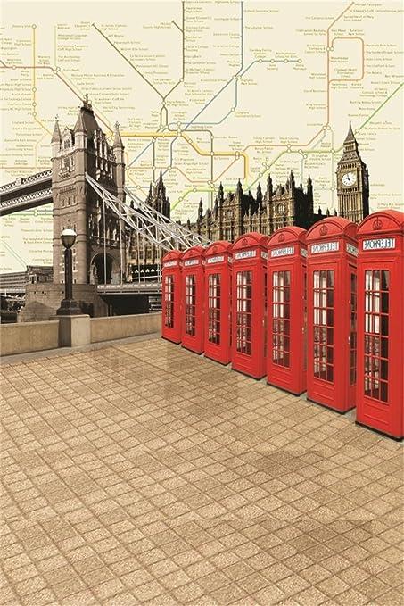 AOFOTO 3x5ft Infant Photography Studio Background Baby Photo Shoot Backdrop  London Bridge Big Ben Red Phone