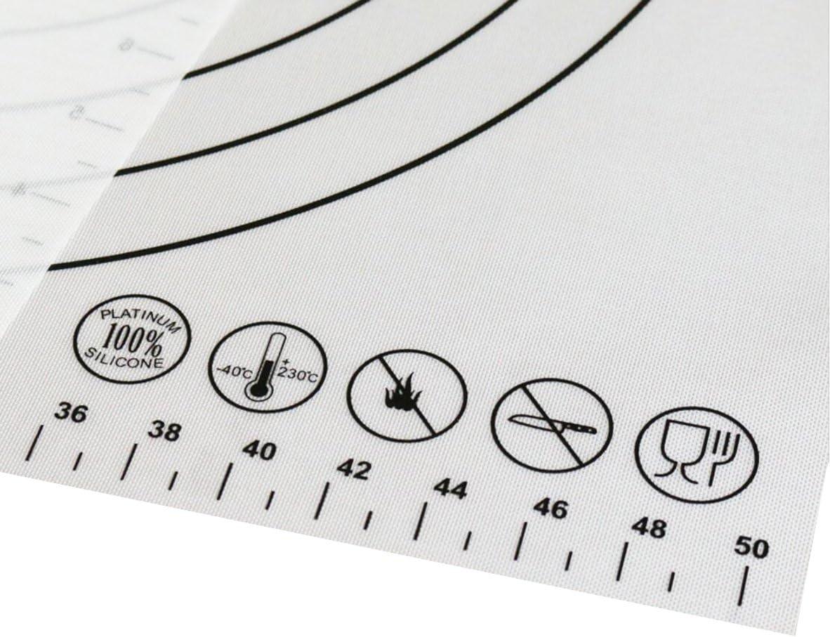 Tapis /à p/âtisserie en silicone antid/érapant Premium Extra Large avec mesures 5 /à 30,5 cm pour tapis de cuisson en silicone Tapis de comptoir P/âte /à rouler Tapis Tapis de cuisson
