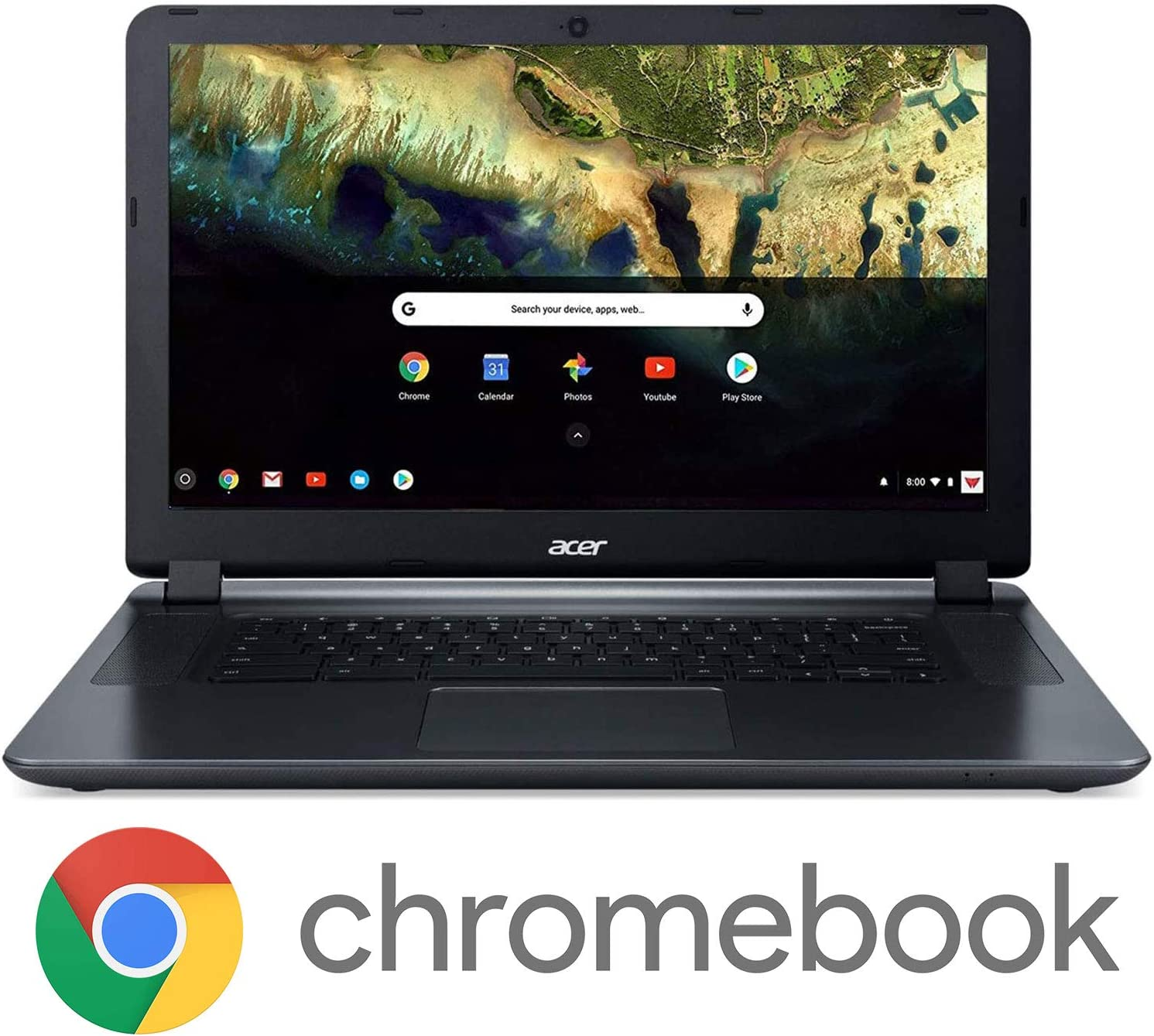 "Acer Chromebook 15 CB3-532-C8DF, Intel Celeron N3060, 15.6"" HD Display, 4GB LPDDR3, 16GB eMMC, 802.11ac WiFi 5, Google Chrome"