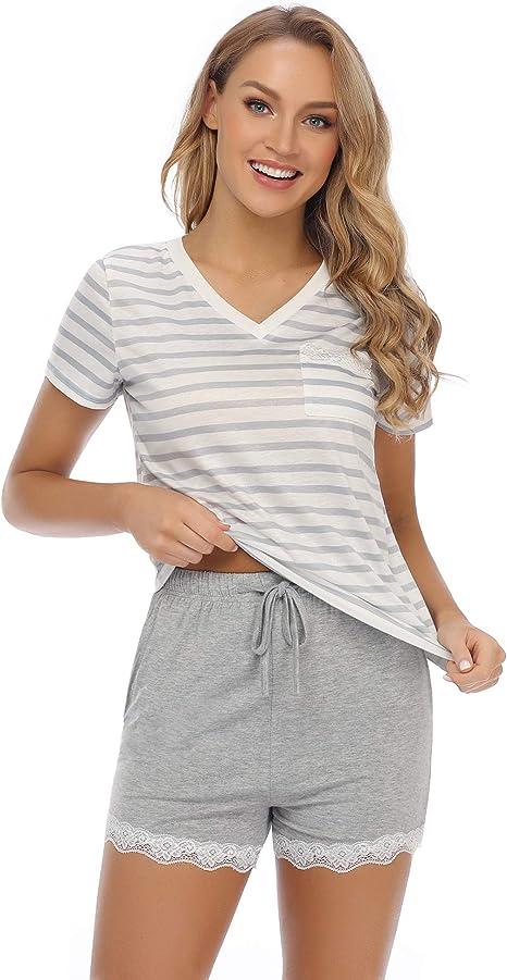 Hawiton Pijamas para Mujer Verano Cortos, Algodon Pijama Conjunto ...