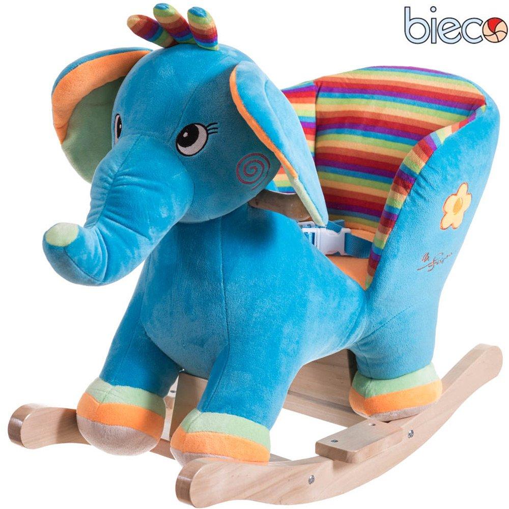 Plüsch Baby Schaukel Elefant, Metallkern gute Polsterung und weiches Kuschelfell: Schaukeltier Plüsch Schaukelwippe Schaukelpferd Holz Baby Schaukel Wippe