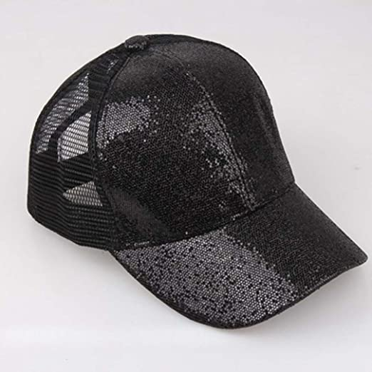 ffb38f13dfe ... 7 1 2 black 136bb 090f5  coupon code for amazon kfso women man ponytail  baseball cap sequins shiny messy bun snapback hat