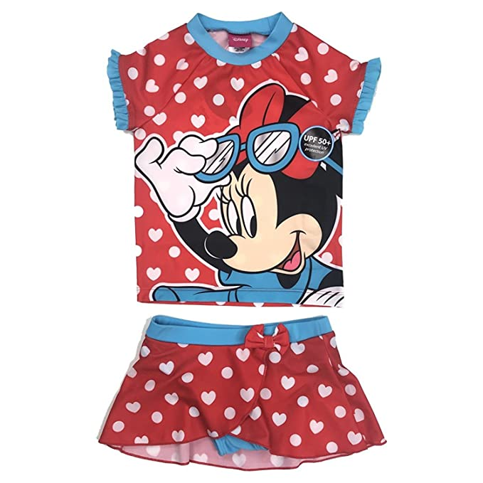 Amazon.com: Disney Girls Minnie Mouse UPF 50 + Rash Guard ...