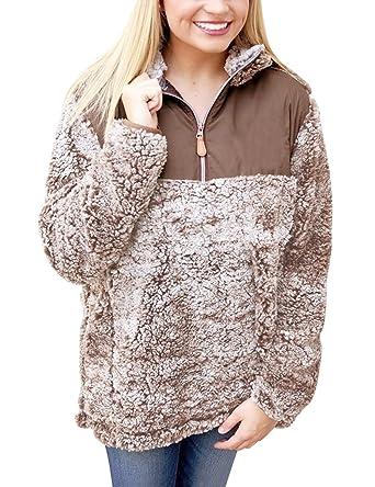 MEROKEETY Women's 1/4 Zip Stand Collar Sherpa Pile Pullover Tops ...
