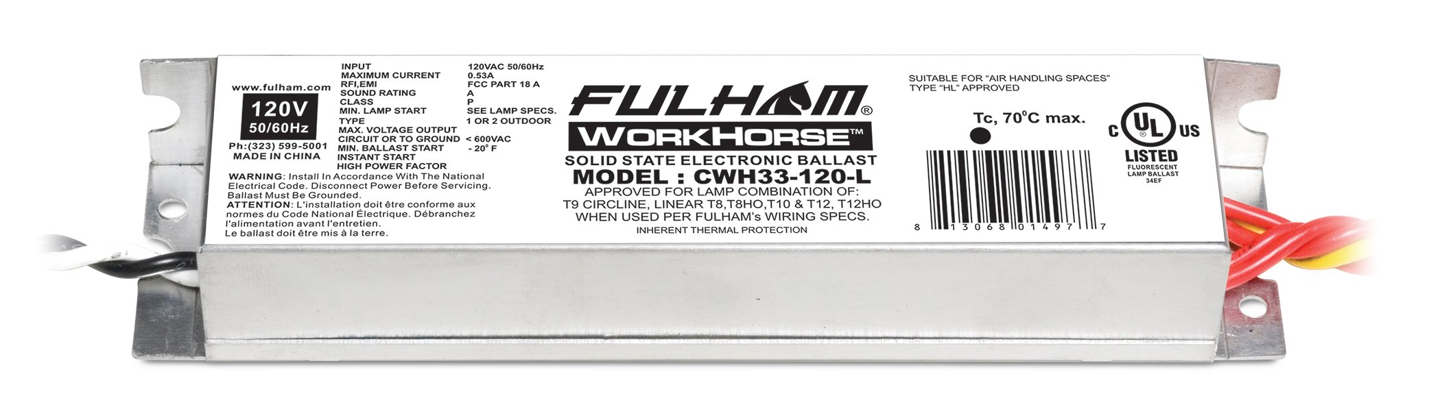 Fulham Lighting CWH33-120-L Canada Series-Workhorse 33-120V-Linear Model with Side Leads