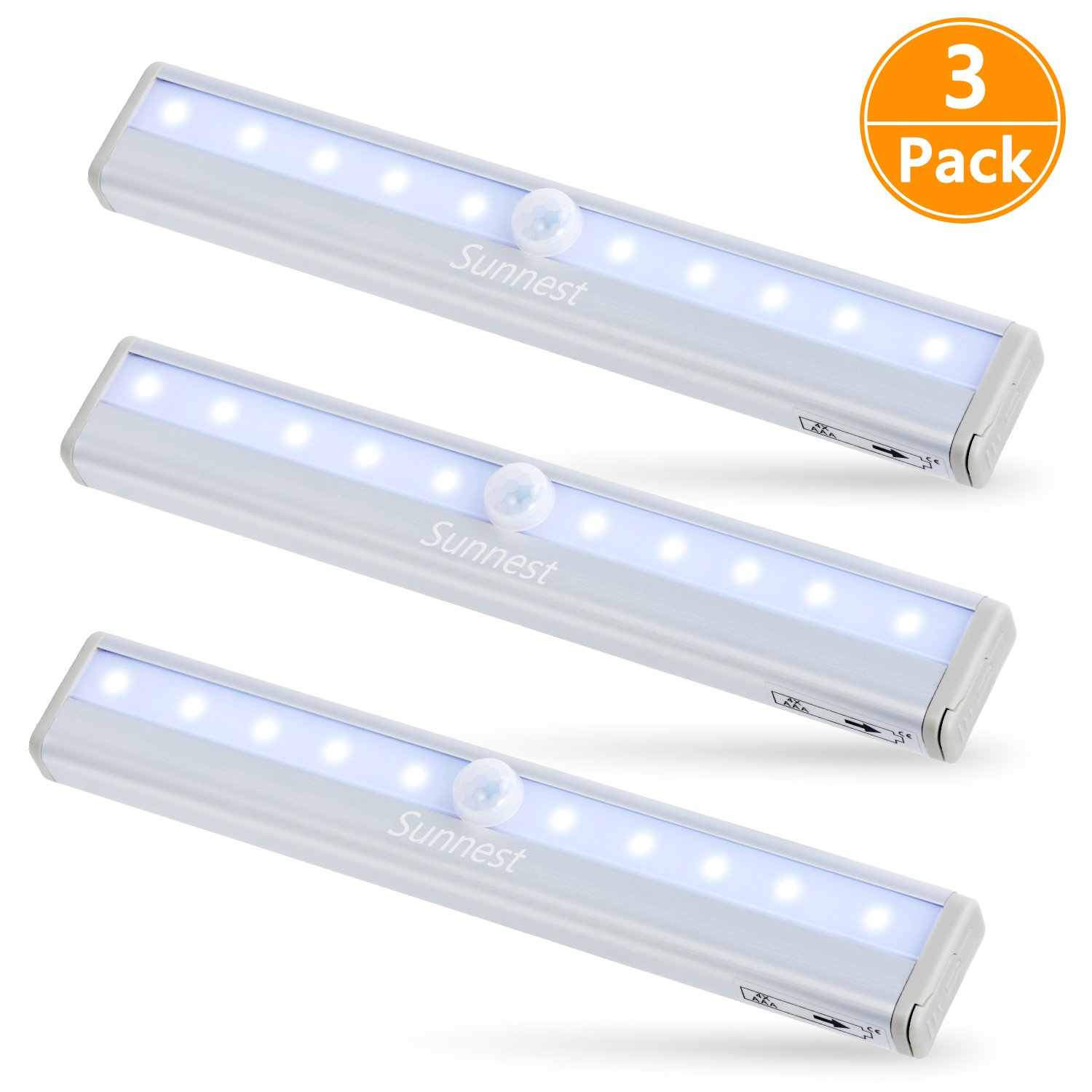 Sunnest 3 Pack Motion Sensor Closet Lights, Wireless LED Under Cabinet Lights, Stick-on Anywhere Battery Operated 10-LED Night Light Bar for Closet, Cabinet, Wardrobe, Stairs