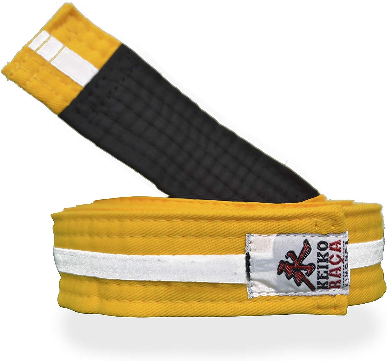 Youth Brazilian Jiu Jitsu Belt Kid BJJ Yellow//Black Belt Size L 100/% Handmade