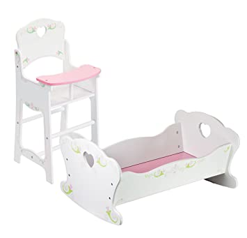 ede9fa8bf61b Dolls Wooden High Chair and Rocking Cradle Cot Bed Doll Furniture Set   Amazon.co.uk  Toys   Games
