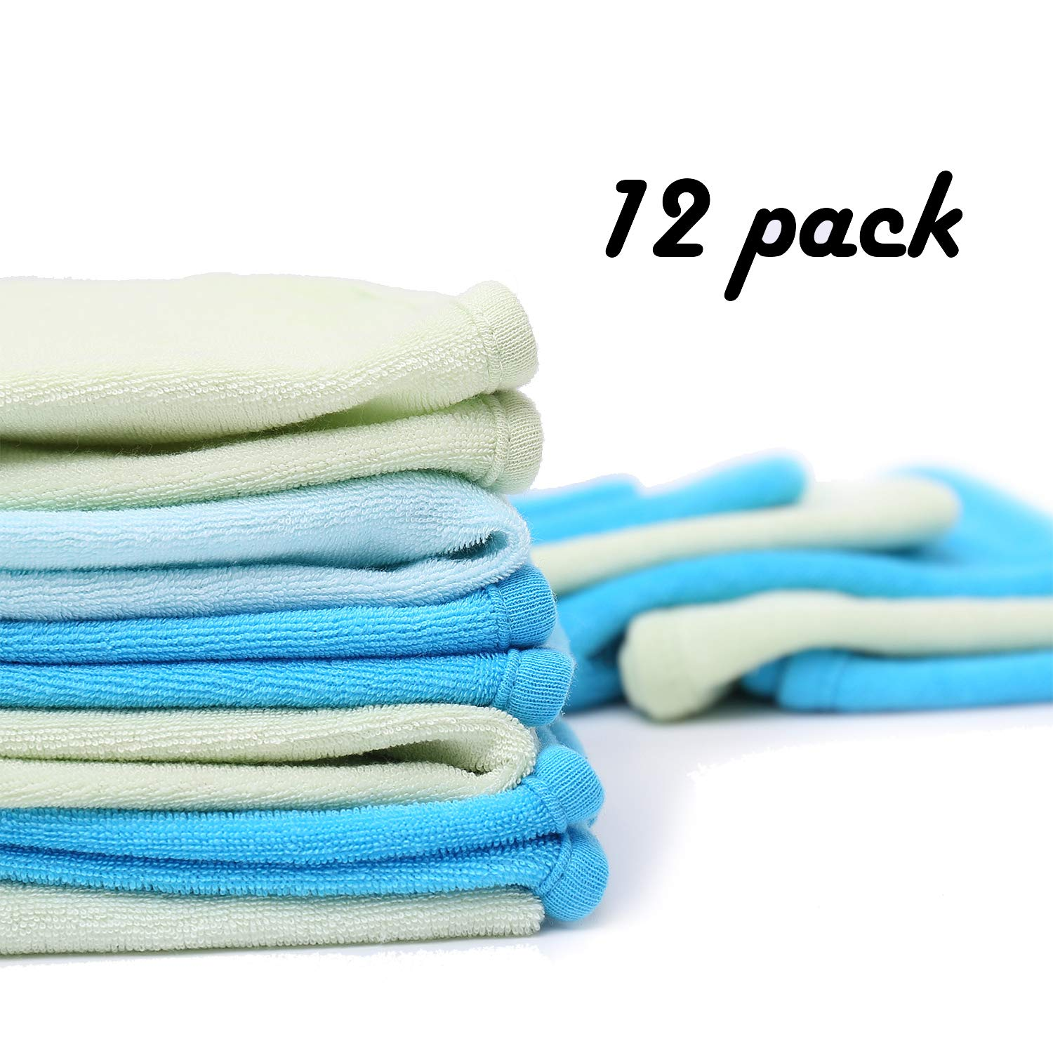 """Baby Towel Baby Washcloths Organic Cotton (12 Pack) Soft & Absorbent for Sensitive Skin 8.5""""x8.5"""" Wipes - Bath Towel and Newborn Registry Gift Danea Deco"""