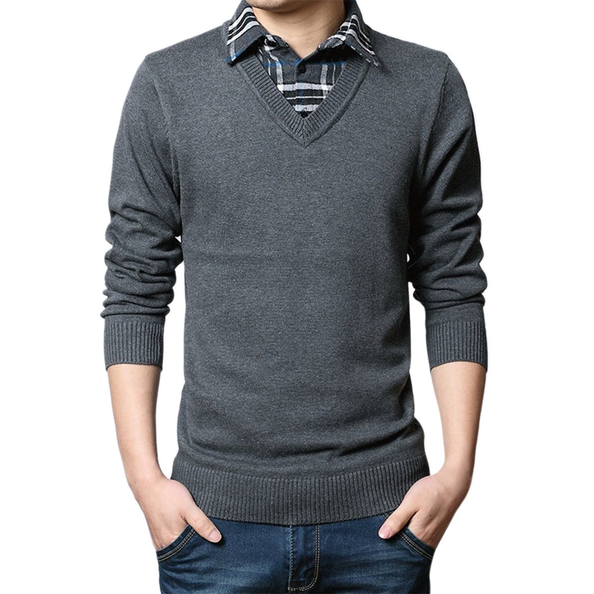Pishon Men's V Neck Sweaters Fake Collar Sweater Casual Pullover Mens Knitwear